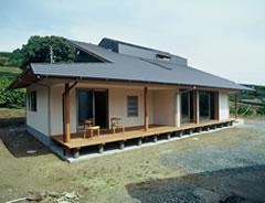 一見平屋のように見える大屋根の家