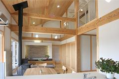桧・杉・シラス壁・石材・薪ストーブに囲まれた心地よい空間